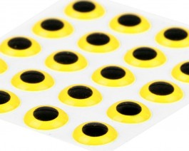 3D Epoxy Eyes, Yellow, 7 mm