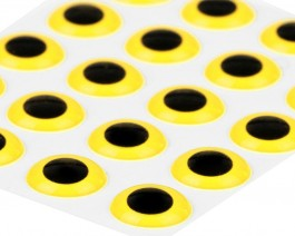 3D Epoxy Eyes, Yellow, 8 mm