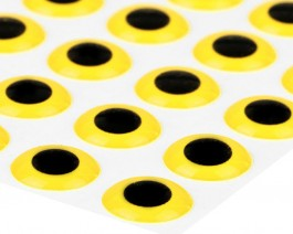 3D Epoxy Eyes, Yellow, 9 mm