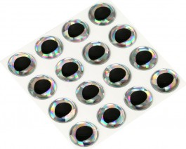 3D Epoxy Fish Eyes, Holographic Silver, 12 mm