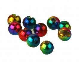 Tungsten Beads, Slotted, Metallic Rainbow, 2.5 mm