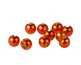 Tungsten Beads, Slotted, Metallic Orange, 4.0 mm