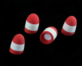 Foam Popper Short, Red Head, 16 mm