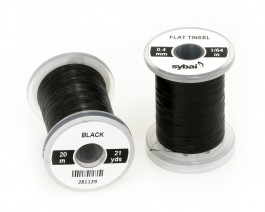 Flat Tinsel, 0.4 mm, Black