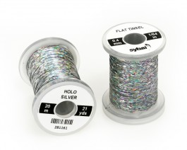 Flat Tinsel, 0.4 mm, Holographic Silver
